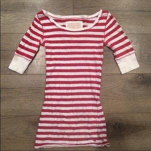 Hollister Red & White Striped Shirt (Size: S)